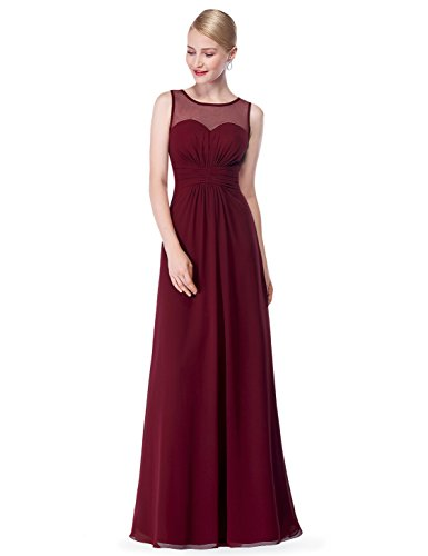Ever Pretty Damen Elegant Lang Abendkleid Brautjungfernkleid Maxikleider 46 Burgundy
