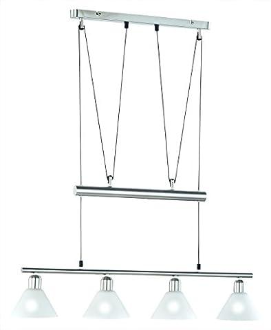 LED Pendelleuchte 4x4W hell höhenverstellbar 80 - 180 cm London 2700k 80cm nickel matt / Glas