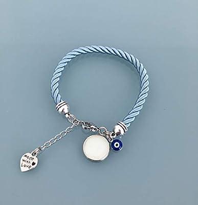 Bracelet phosphorescent bleu avec pendentif oeil grec, bijoux, bracelet, porte bonheur, bijou, bracelets, bijoux cadeaux, cadeau ado fille