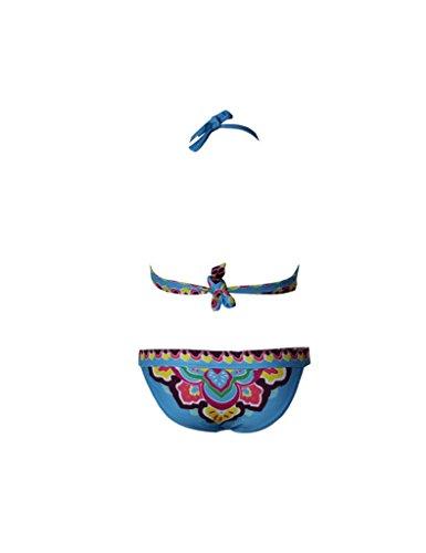Damen Bikini-Sets Paisley-Drucke Bademode Badeanzug BK22 Blau
