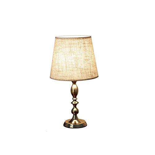 Golden Bronze Tischlampe (Europäische Einfache Tischlampe Plating Eisen Leselampe Bronze Tuch Tischlampe Kreative Schreibtischlampe Schlafzimmer Wohnzimmer Villa Club Restaurant Hotel, H47cm D25cm E27)