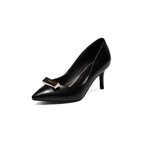 WSS chaussures à talon haut Chaussures talons hauts talons pointu pièce cuir femmes de métal clignote élégance légère de haut de gamme chaussures chaussures femme Black