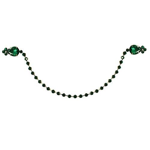 Strickjacken-Clip, silberfarben mit smaragdgrünem Kristall mit Geschenk-Box.