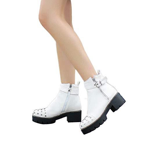 MYMYG Damen Runde Zehe Boots Stiefel Frauen PU Leder Bruckle Zip-up Strap Runde Kopf Mode hübsche Seite Low Heel High Top Punk Biker Schuhe Dicker Plateauschuhe
