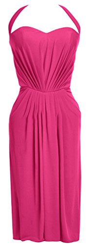 MACloth Women Halter Midi Sexy Jersey Short Cocktail Party Dress Evening Gown Fuchsia