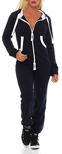 Damen Jumpsuit Jogger Jogging Anzug Trainingsanzug Einteiler Overall 9t5 dunkelblau XL