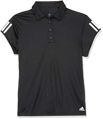 adidas Damen Club 3 Stripes Kurzarm Polo-Shirt Black M