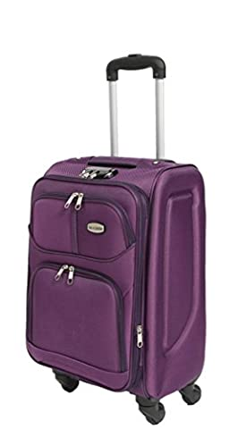 Suitcase 4 Wheel Spinner Soft Case Travel Luggage Expandable Telescopic Handle 40x68x32CM H97 MEDIUM