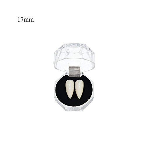 CTGVH 1 Paar Vampirzähne, unechte Zähne, für Halloween, Party, Cosplay, Requisite, Kostüm-Accessoire, Verkleidung, Kunstharz, weiß 2, 17 mm (Halloween-kostüme 2 Paar)