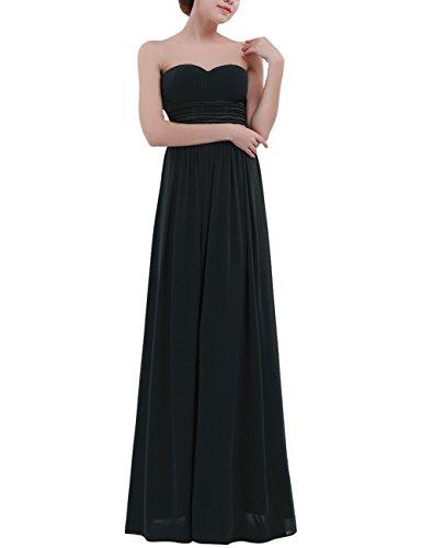 Tiaobug Damen festlich Chiffon Abendkleid Cocktailkleider Ballkleid Lange Elegant Brautjungfer Party Kleid 36-46 Schwarz