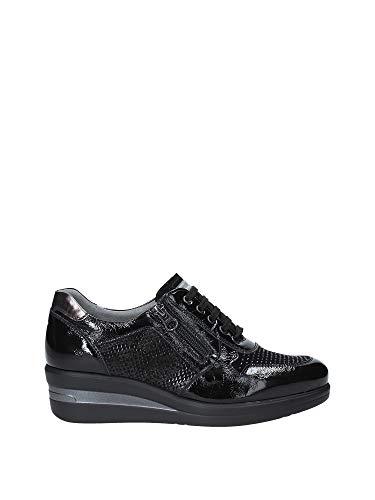Sneaker donna nerogiardini in tessuto nero con zeppa 6 cm a908851d. scarpa dal design raffinato. collezione autunno inverno 2019 2020. eu 38