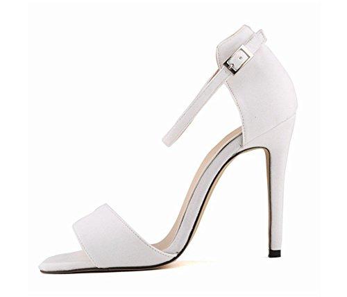 wealsex Sandales Suédé Bride Cheville Boucle Bout Ouvert Talon Aiguilles Haut Sexy Mode Femmes Blanc