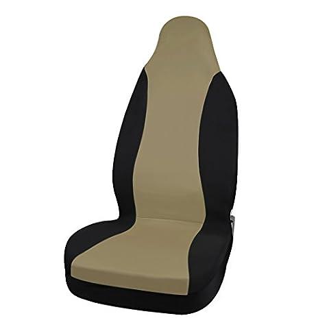 sourcingmap® Beige Schwarz Klassisch Tuch 3D Luftnetz Vorder Sitz Eimer Auto Sitzbezug