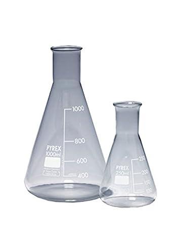 Pyrex 1130/30D Fläschchen, Glas, 2l, Erlenmeyer Schmale Hals (10Stück) (Pyrex Erlenmeyerkolben)