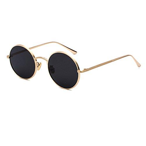 Inlefen Runde Metallrahmen Gläser Vintage Kreis Sonnenbrille für Männer und Frauen,Goldgrau,57 (Frauen Sonnenbrillen Fehler)
