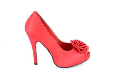 en Grandes la plateforme 46 de Pointures 32 et talon cm et habillés intérieure la Escarpins satin de à Petites Rouge 11 5Ugq7H