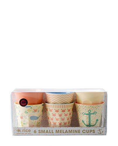 Rice Melamin Becher 6er Set Ocean Life Print 7cm