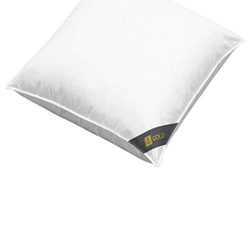 Spessarttraum Dreikammer Kopfkissen 80 x 80/1000 g - Kissen Gold100 weich mit 90% Gänsedaunen und 10% Gänsefedern - Bezug 100% Baumwolle -