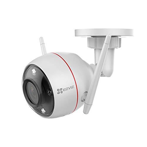 EZVIZ C3W Visión Nocturna Colorida Cámara de Seguridad 1080p, Defensa Activa, Luz Estroboscópica y Sirena, IP67, Audio Bidireccional, Servicio de Nube, Compatible con Alexa