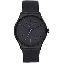 slim made one 08 - Extra leichte und dünne unisex Armbanduhr in schwarz