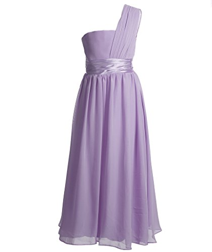 n A-line One Schulter Chiffon Party Kleid Blumenmädchenkleid One Shoulder K0078 14 Lila (Tanzabend Kostüme Kinder)