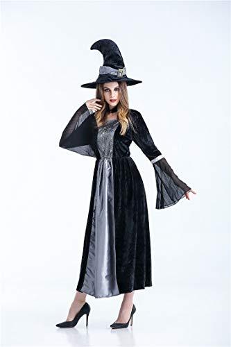 Halloween Hexen Kleid Kostüm, Halloweenkostüm Party, Erwachsene Dame Mädchen Langes Kleid Für Hexen Rollen Spielen, Bühnen Performance-Kostüm,Black,XL