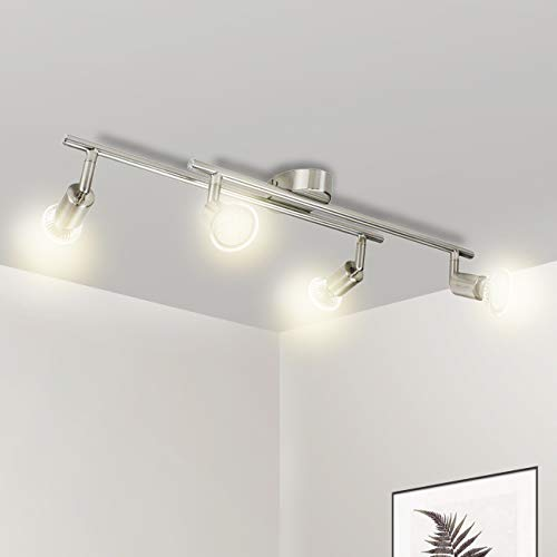 Wowatt Lampara de Techo Luz de Techo Plafon Focos Led GU10 4x 5W 420LM Blanco Cálido 2800k para dormitorio, pasillos, salas, cocina