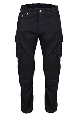 "Men's Black Heavy Duty Cotton Plain & Cargo Style Motorcycle Motorbike Biker Trousers Pants + Free Protectors Size 30-42"""