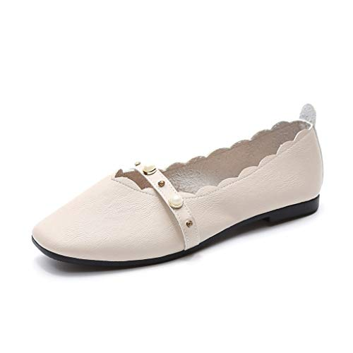 Freizeitschuhe Damen Beiläufige Berufsarbeits Einzelschuhe Frauen Spitzen Schuhe Schnalle Slipper Elegent Pumps mit Quadratischer Absatz