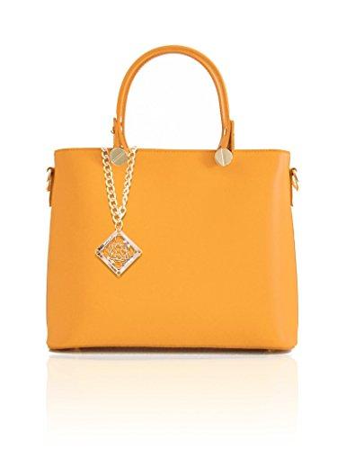 Borsa a mano in vera pelle liscia, prodotto italiano autentico ed originale, misura media, optione tracolla staccabile, accessori in oro pallido Giallo