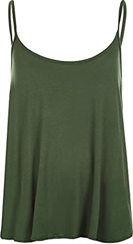 Plus Size Womens Plain Strappy Sleeveless Ladies Swing Cami Vest Top - Dark Green - 16-18