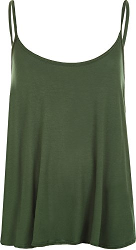 WearAll - Übergröße Damen Riemchen Ärmellos Swing Vest Top - 14 Farben -  Größen 44-