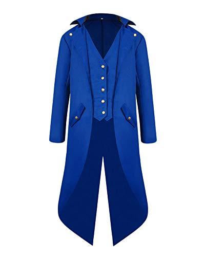 Herren Steampunk Vintage Frack Jacke Gothic Victorian Uniform Kostüm Langer Mantel Blau 4XL (Victorian Männer Kostüme)