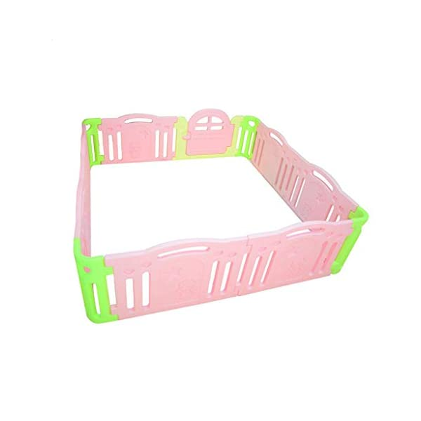 MEI XU Indoor Baby Playpens Children's Fence Guardrail Learning Walking Fence Indoor Safety Guardrail ABS Material (Size : 215 * 215 * 64.5cm) MEI XU COVERS A LARGE AREA: It is a great amount of space for baby to learn walk and even laying with baby in it for play time. EASY TO ASSEMBLE: It is lightweight, easy to put together and take down, without 15 mins. SAY NO TO ANIMAL PEN: Bright and colorful design make the fence look more lovely in order to attract children and energize their mood automatically. 1