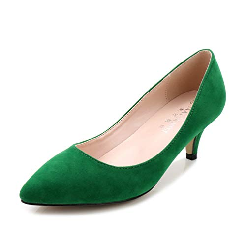Frauen Pumpen Boot Schuhe Mitte Ferse Highheels Büro Stilettos Slip-On Court Schuhe Spitzen Zehen elegantere dünne Absätzen - Funky High Heel-schuhe