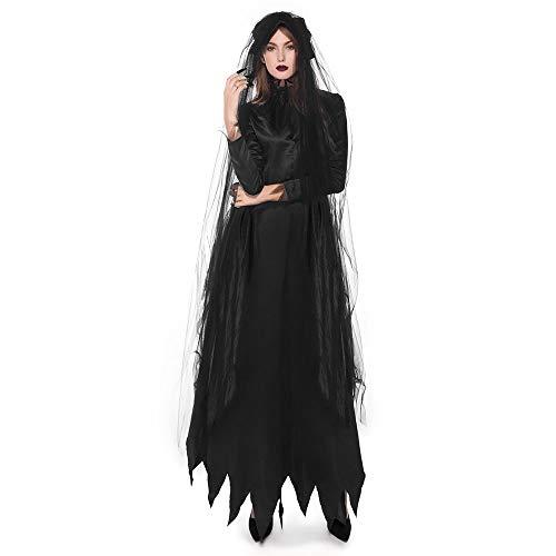 Zauberer Party Kostüm Stadt - Kostümparty Kostüme Halloween Party Cosplay Black Hell Ghost Brautkostüm Spiel Uniform Maskerade Kostüme Rollenspiel Kostüme (Farbe : Schwarz, Größe : XL)