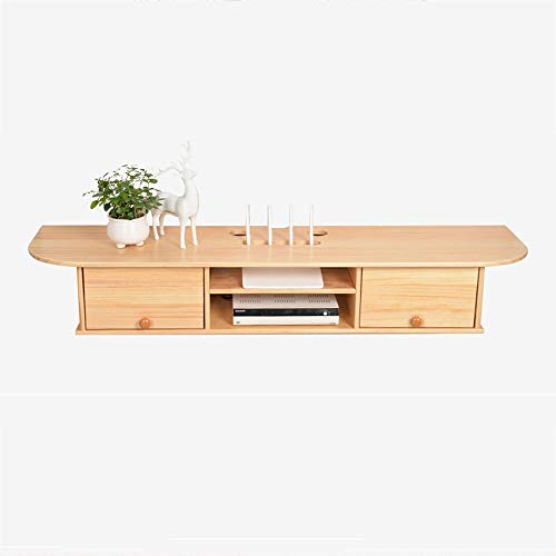 Xyanzi-zhiwujia Wandmontierte Medienkonsole, Pine Floating-TV-Stand-Komponentenfach, Entertainment Center-Einheit Funktionelles Ablagefach -