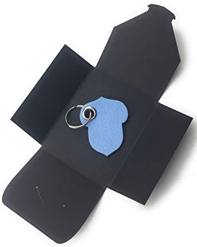 filzschneider Schlüsselanhänger aus Filz - Hasel-Nuss/Garten - hell-blau/EIS-blau - als besonderes Geschenk mit Öse und Schlüsselring - Made-in-Germany -