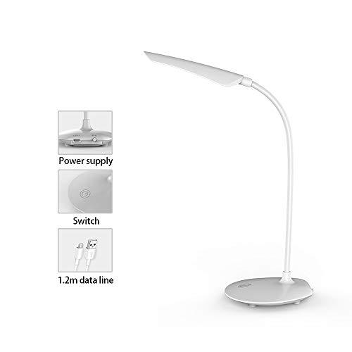Touch On/Off-Schalter Tischlampe Leselampe Aufladen Augenschutz Tischlampe Falten Drehen 360-Grad-Schlauch Licht Weiß -
