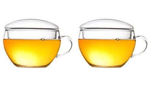 Creano Teeglas mit Deckel im 2-er Set, praktisch für ErblühTeelini oder Teebeutel, Latte Macchiato, Kaffee, 2-teilig, 200 ml