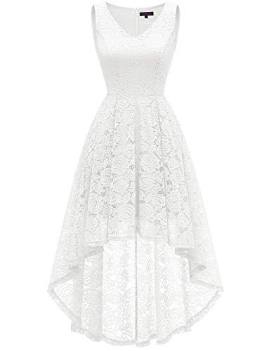 bridesmay Damen Hi-Lo Spitzenkleid Ärmellos Unregelmässig Vokuhila Kleid Cocktailkleid Brautjungfernkleider White XL (High Weißes Brautkleid Low)