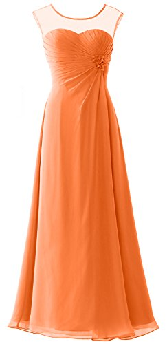 MACloth Women Cap Sleeves Chiffon Long Prom Dress Wedding Party ...