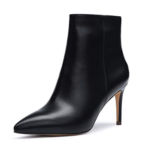 CASTAMERE Botas Cremalleras Mujer Tacón de Aguja Botines Tacón Medio 8CM Negro PU Zapatos EU 40