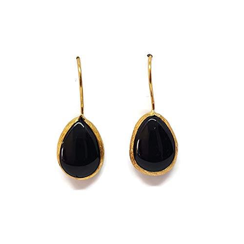 9 - Mystic Jewels by Dalia - Pendientes Largos forma de gota con Piedra Natural Mujer Fiestas Boda, Varios Colores (Negro)