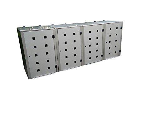 Mülltonnenbox Edelstahl, Modell Eleganza Quad5, 240 Liter als Viererbox
