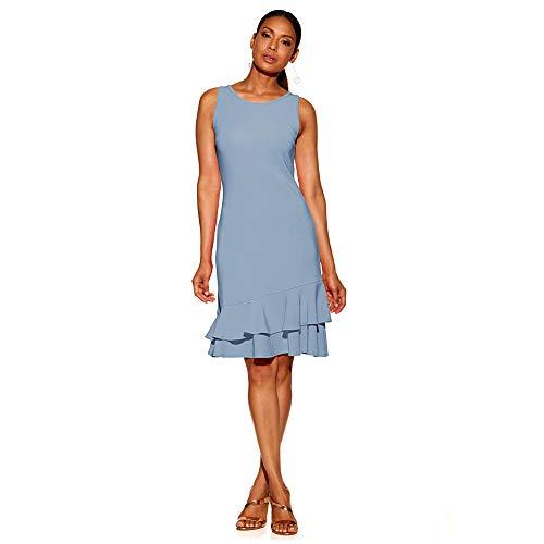 IMJONO Frauen Rock, Damen Sommer Rüschen ärmelloses, figurbetontes Abendkleid kurzes Minikleid(XX-Large,Himmelblau)