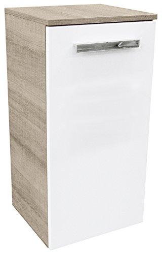 FACKELMANN Unterschrank A-VERO / Badschrank mit gedämpften Scharnieren / Maße (B x H x T): ca. 35 x 69 x 32 cm / hochwertiger Schrank fürs Bad / Korpus: Braun hell / Front: Weiß / Breite: 35 cm