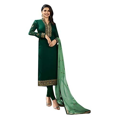 SHRI BALAJI SILK & COTTON SAREE EMPORIUM Green Seiden-Georgette-Churidar-Salwar-Anzug mit bedrucktem Dupatta für Damen-Indianer-Designerparty-Bekleidung 7701 Georgette Churidar