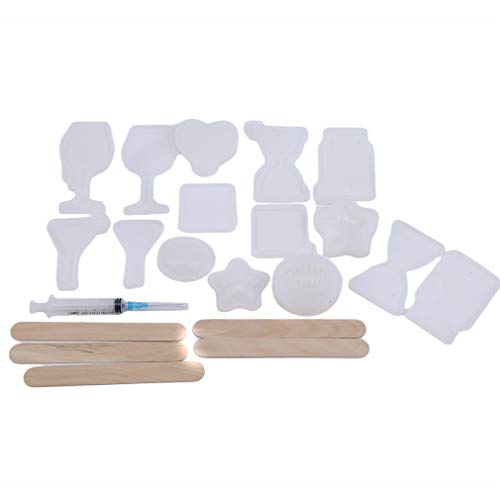 Kingus Resin Shaker Mold Set Schmuck Casting Moulds Charm Mould mit geometrischen Muster Dekoration Backform Werkzeug -