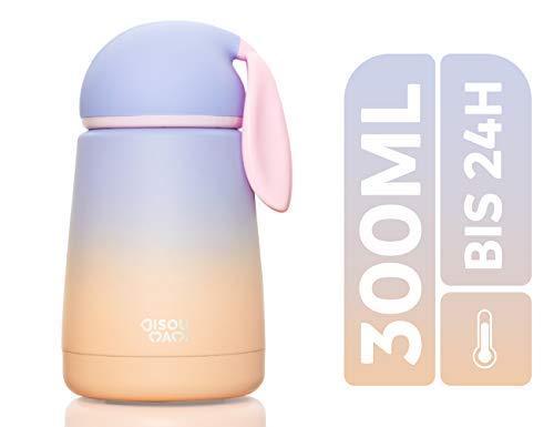 BISOU MAMI® Edelstahl Thermoskanne für Baby und Kinder - Auslaufsichere Isolier-Flasche Cataleya in niedlichem Design - BPA freie Trinkflasche mit 100% Isolierung - Thermosflasche (Blue Peach)